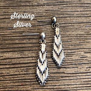 Sterling Silver Dangle Earrings Chevron Design